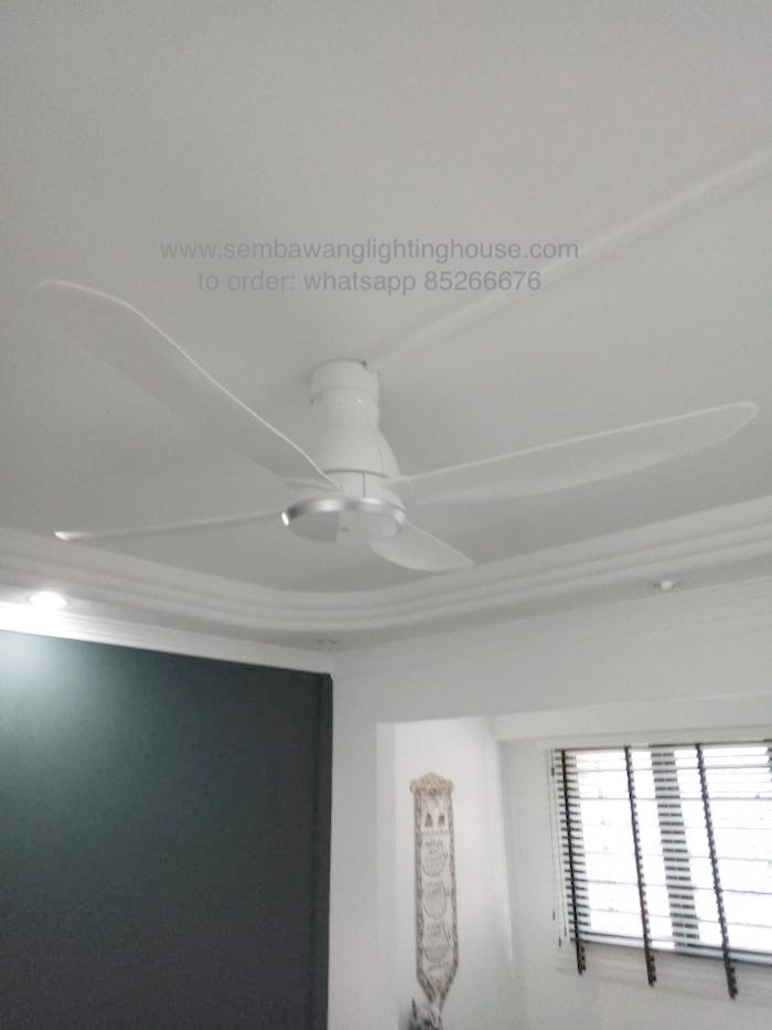 KDK W56VW White ceiling fan in living room