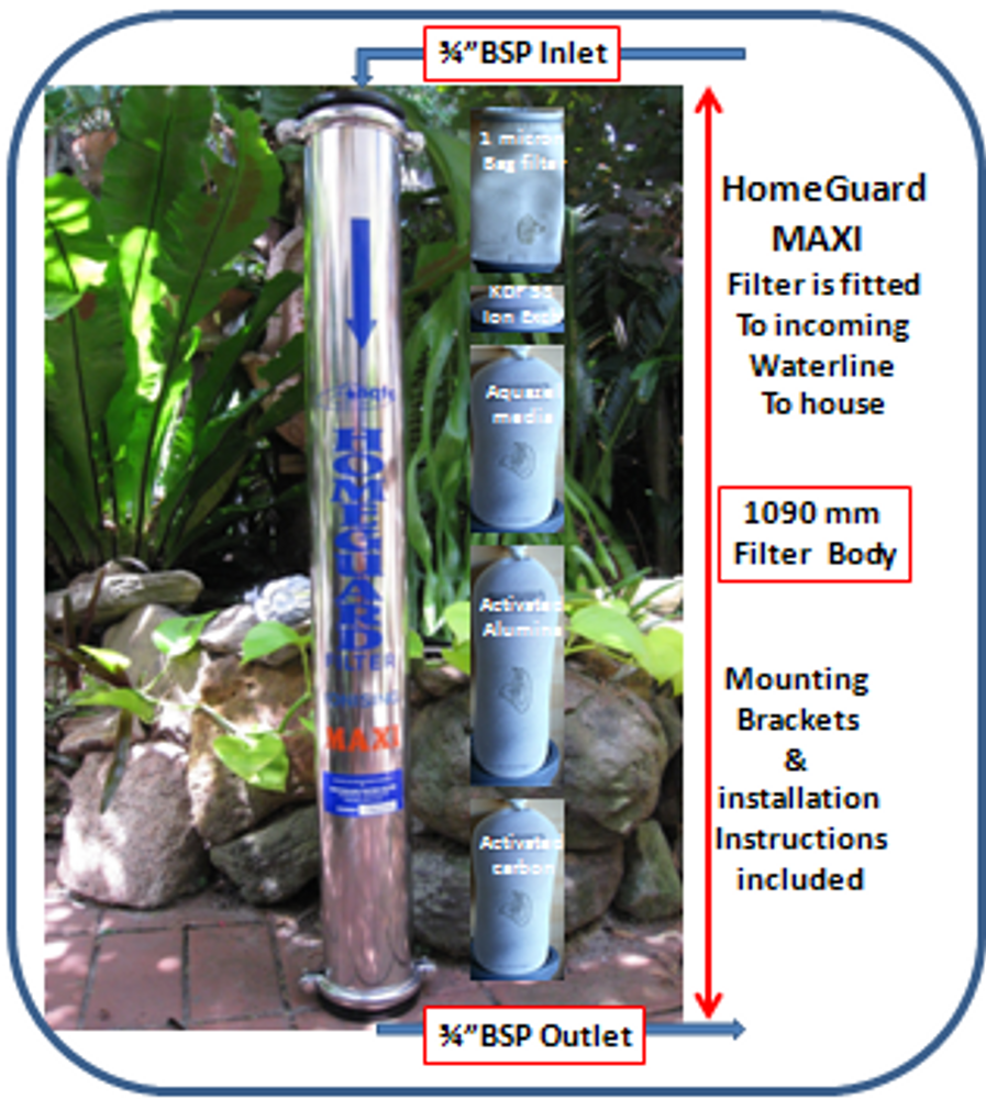 MAXI Homeguard Water Filter with Ion Exchange Element
