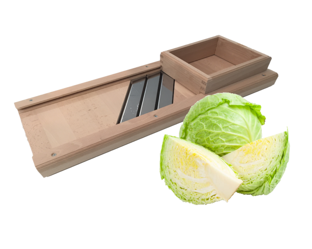 Traditional mandolin-style wooden cabbage shredder