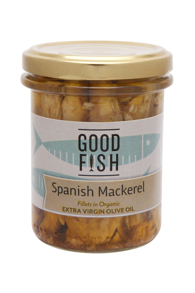 SPANISH MACKERAL Fillets in Organic Extra Virgin Olive Oil 195g Glass Jar