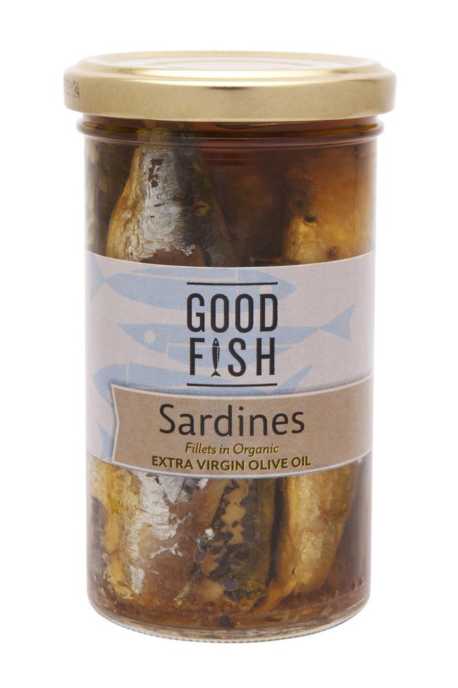 SARDINES in Organic Extra Virgin Olive Oil 277g Glass Jar