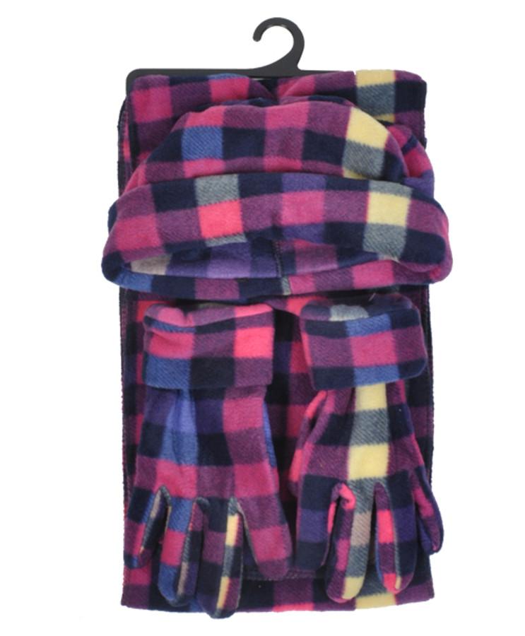 6pc Pack Women's Polyester Fleece Plaid Winter Set WSET8010