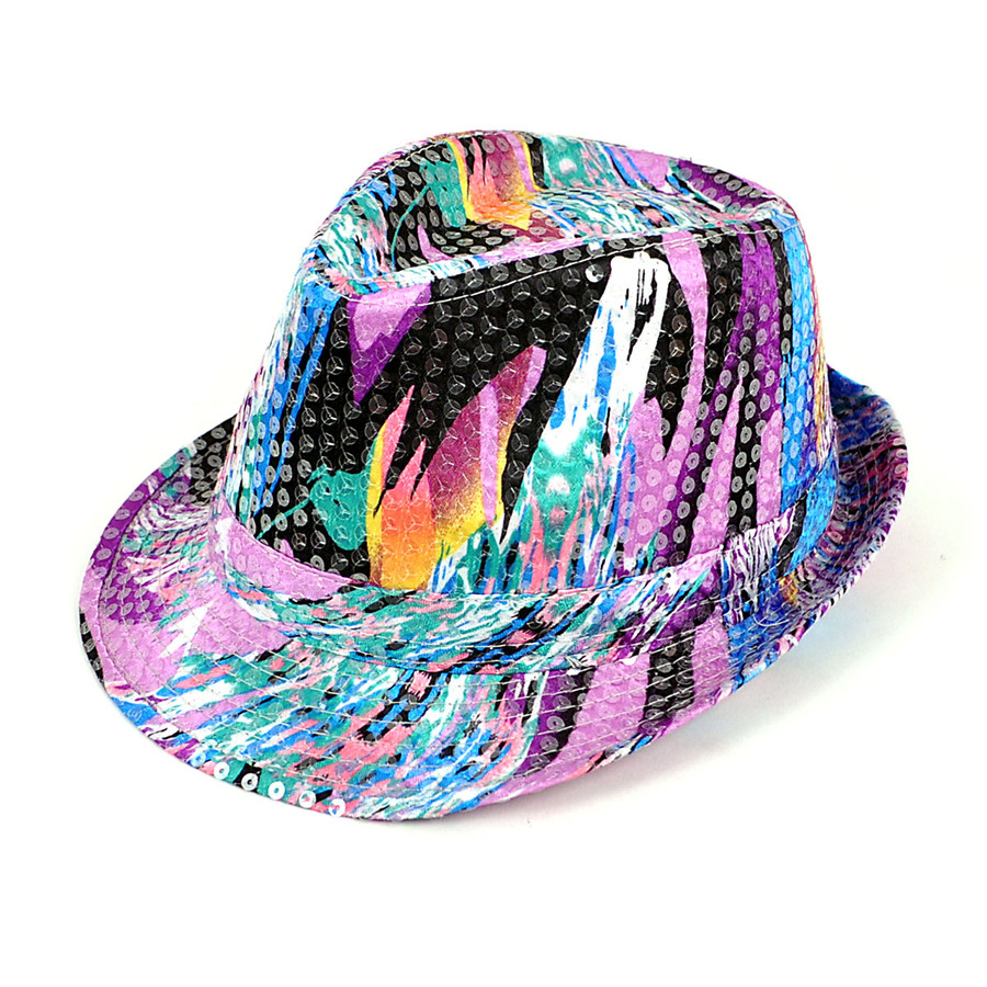6pc Sequin Fedora Hat H10246581