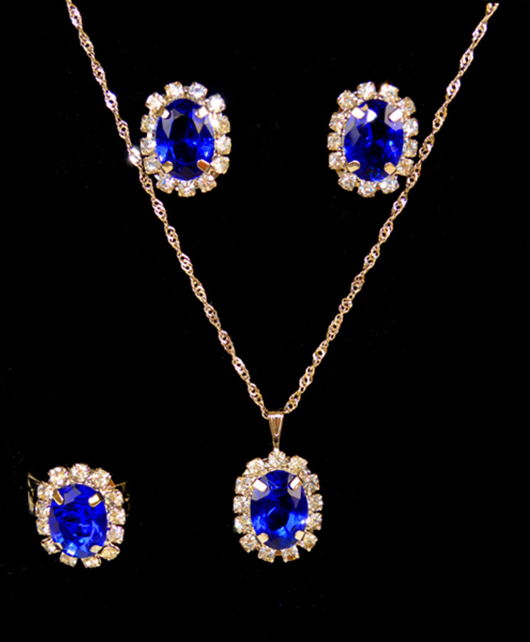 Pendant Necklace, Earrings, and Ring Set - IMJS0495BL