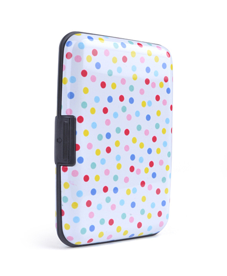 12pc Pack Card Guard Aluminum Compact Card Holder - Polka Dot