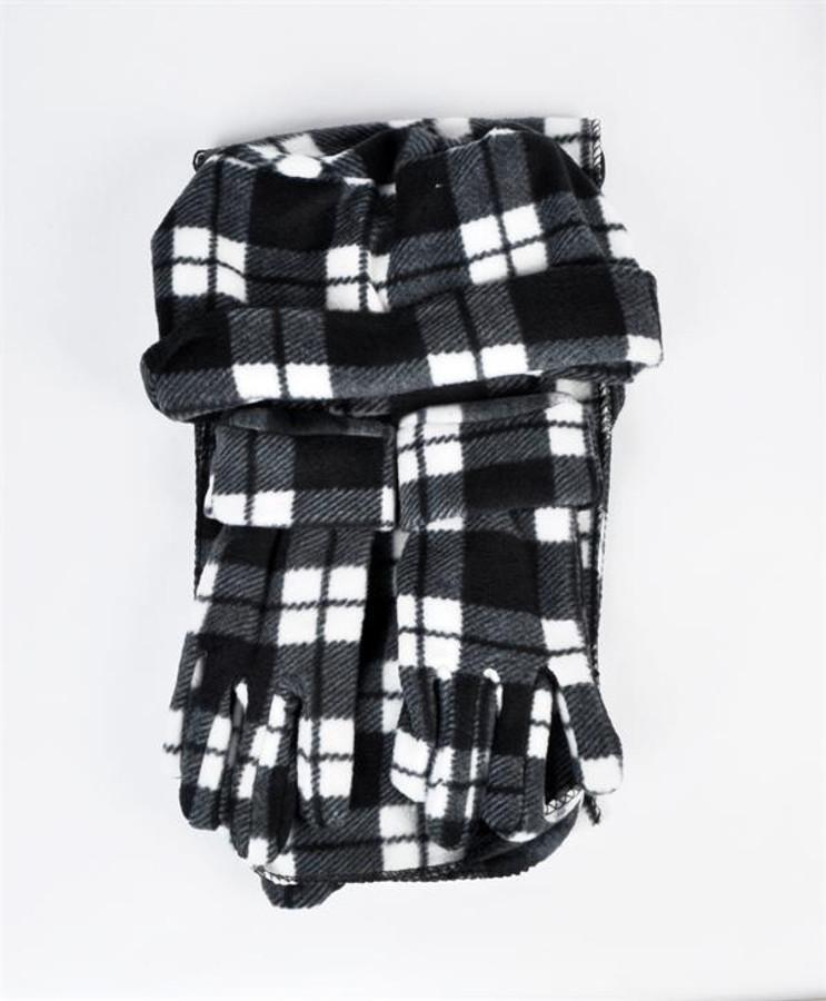 6 Pack Women's Check Printed Polyester Fleece Winter Set WNTSET1002