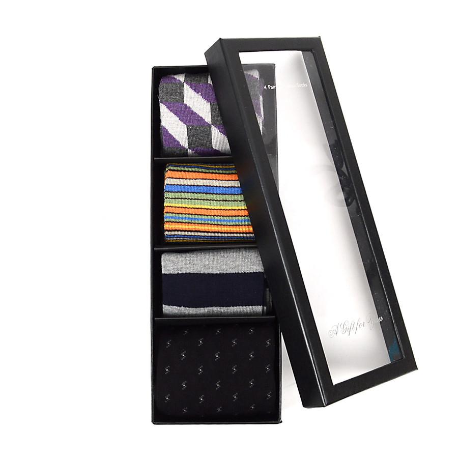 Fancy Multi Colored Socks Gift Box (4 paris in Box) SFGB21