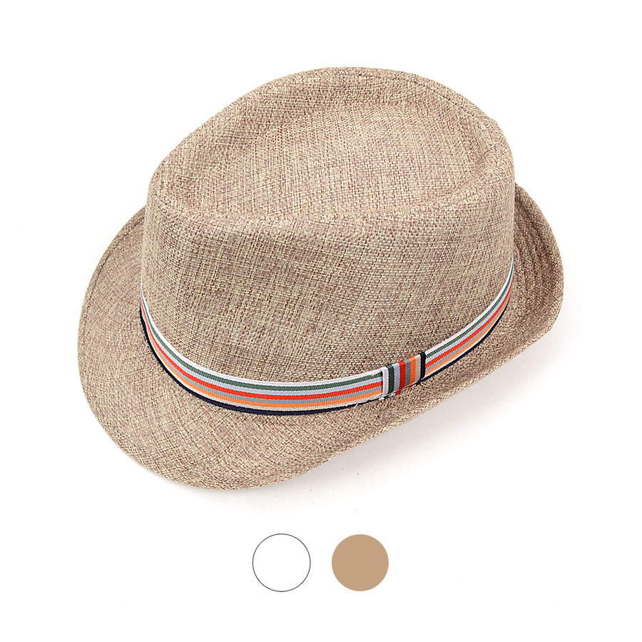 Spring/Summer Fedora Hat with Band Trim H8754