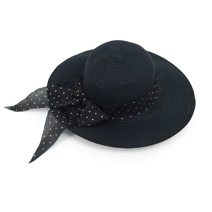 """Women's 4"""" Brim Black and Gold Bow Floppy Hat H10324"""
