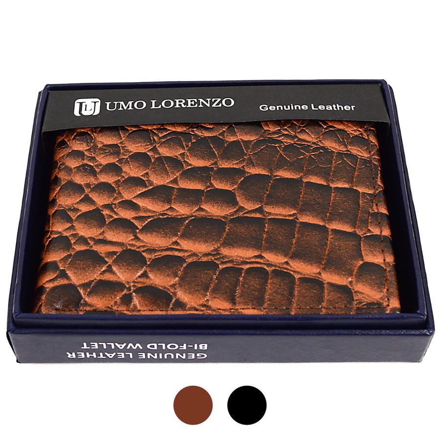 Bi-Fold Genuine Leather Crocodile Wallet with Zipper Bill Compartment MGLW-A120C