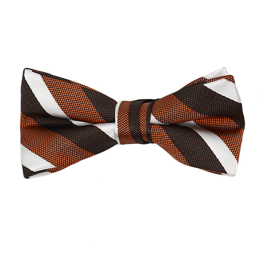 """Boy's 2"""" Orange Striped Polyester Woven Banded Bow Tie FBB3"""