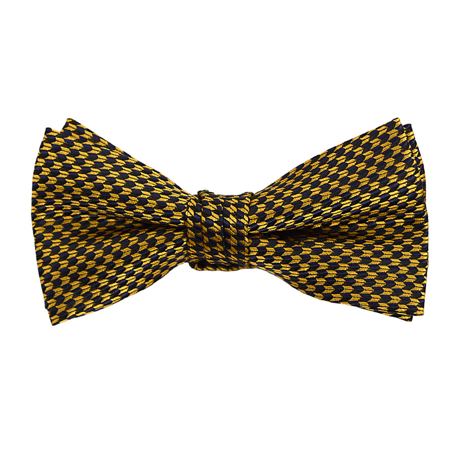 """Boy's 2"""" Gold & Navy Dotted Polyester Woven Banded Bow Tie FBB8"""