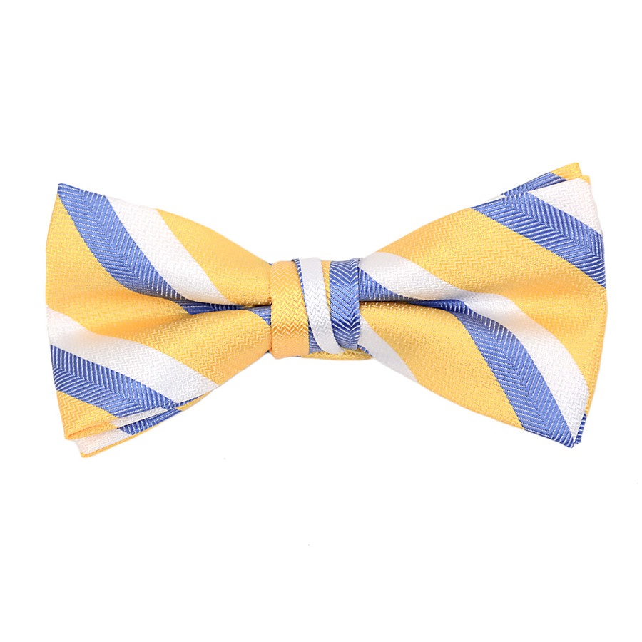 """Boy's 2"""" Yellow Striped Polyester Woven Banded Bow Tie - FBB09"""