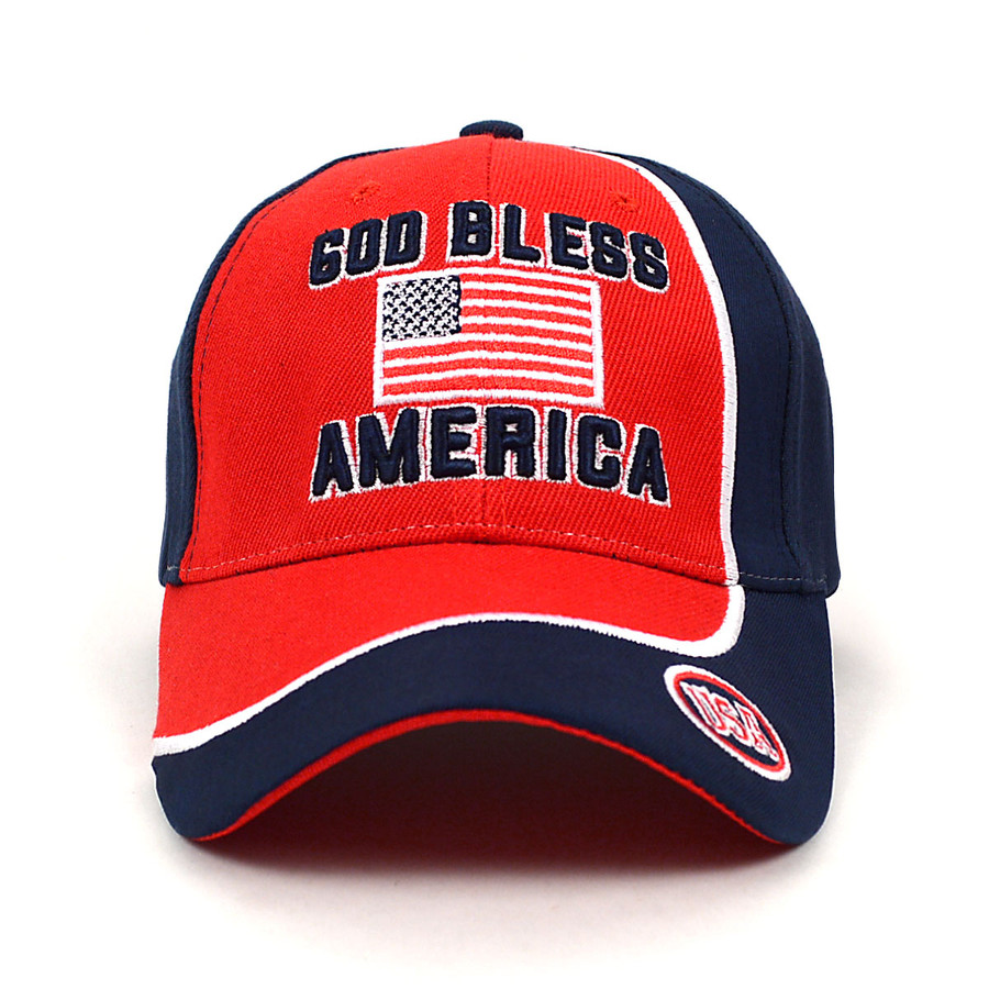 """God Bless America"" Red & Navy 3D Embroidered Baseball Cap, Hat EBC10298"