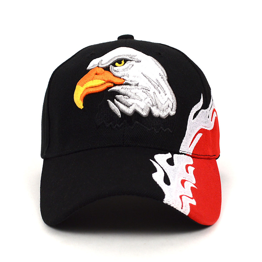 Eagle Flames Black & Red 3D Embroidered Baseball Cap, Hat EBC10301