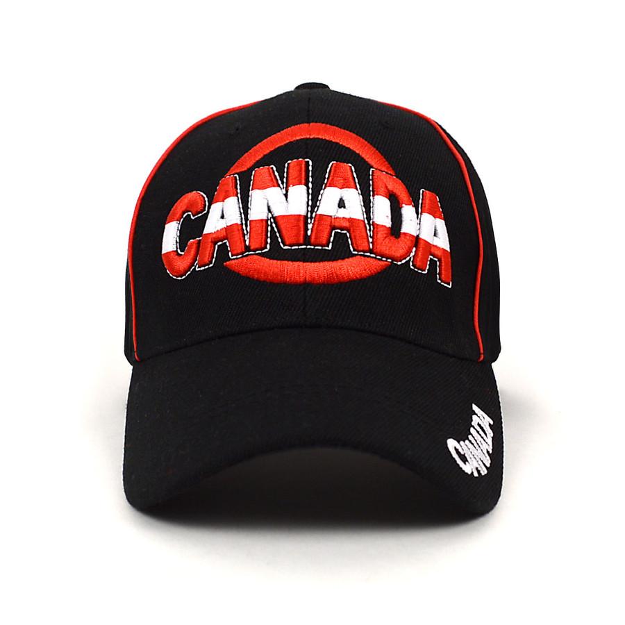 Canada Black 3D Embroidered Baseball Cap, Hat EBC10308