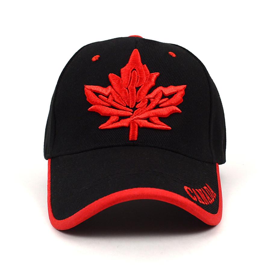 Canada Leaf Black & Red 3D Embroidered Baseball Cap, Hat EBC10309