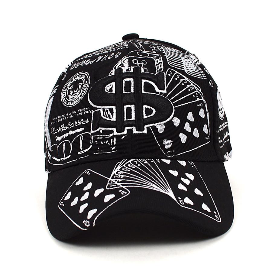 $ Money Black & White Flex-Fit 3D Embroidered Baseball Cap, Hat EBC10310