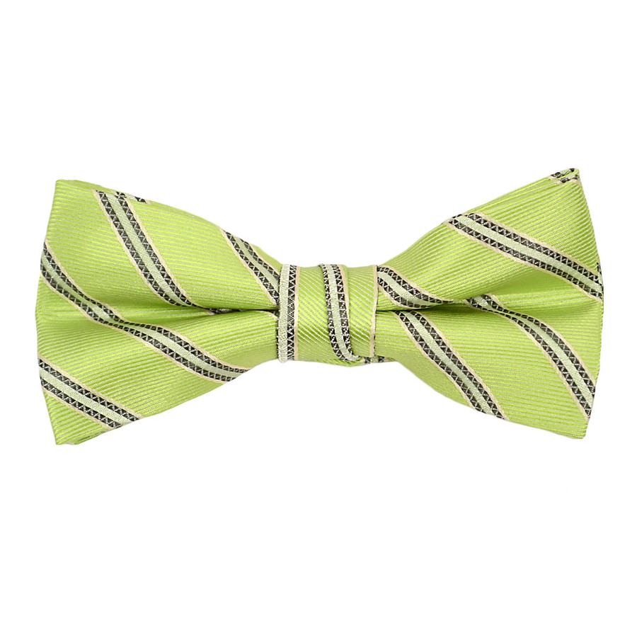 """Boy's 2"""" Green Striped Polyester Woven Banded Bow Tie FBB16"""