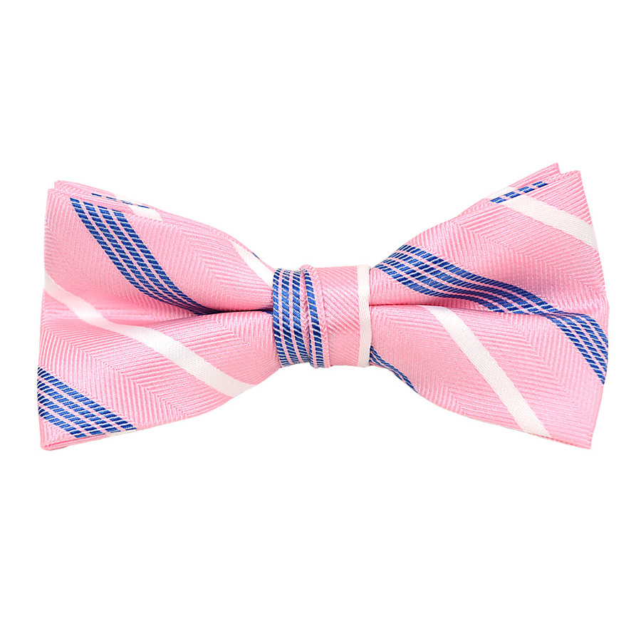 """Boy's 2"""" Pink & blue Striped Polyester Woven Banded Bow Tie FBB21"""