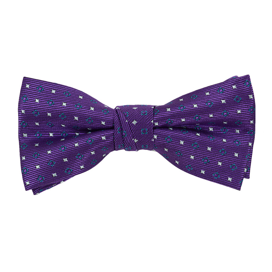 """Boy's 2"""" Purple Dotted Polyester Woven Banded Bow Tie FBB25"""