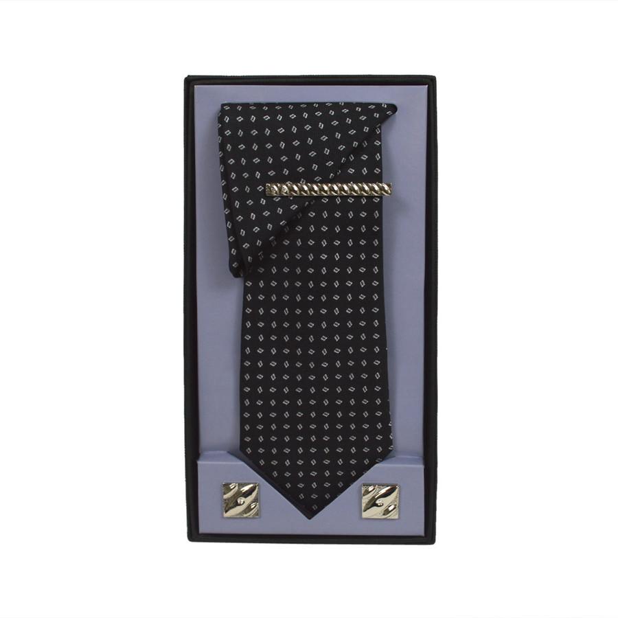 Black Micro Poly Woven Tie, Matching Hanky, Cufflinks & Tie Bar Set PWTHBK14BX