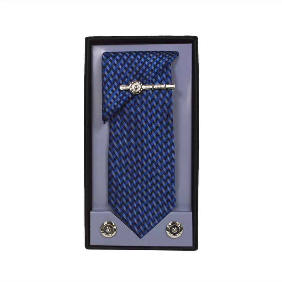 Blue Micro Poly Woven Tie, Matching Hanky, Cufflinks & Tie Bar Set PWTHBL1BX
