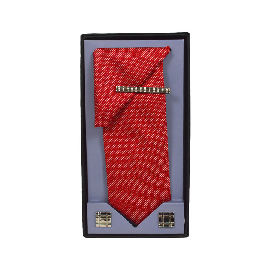 Red Micro Poly Woven Tie, Matching Hanky, Cufflinks & Tie Bar Set PWTHRD2BX