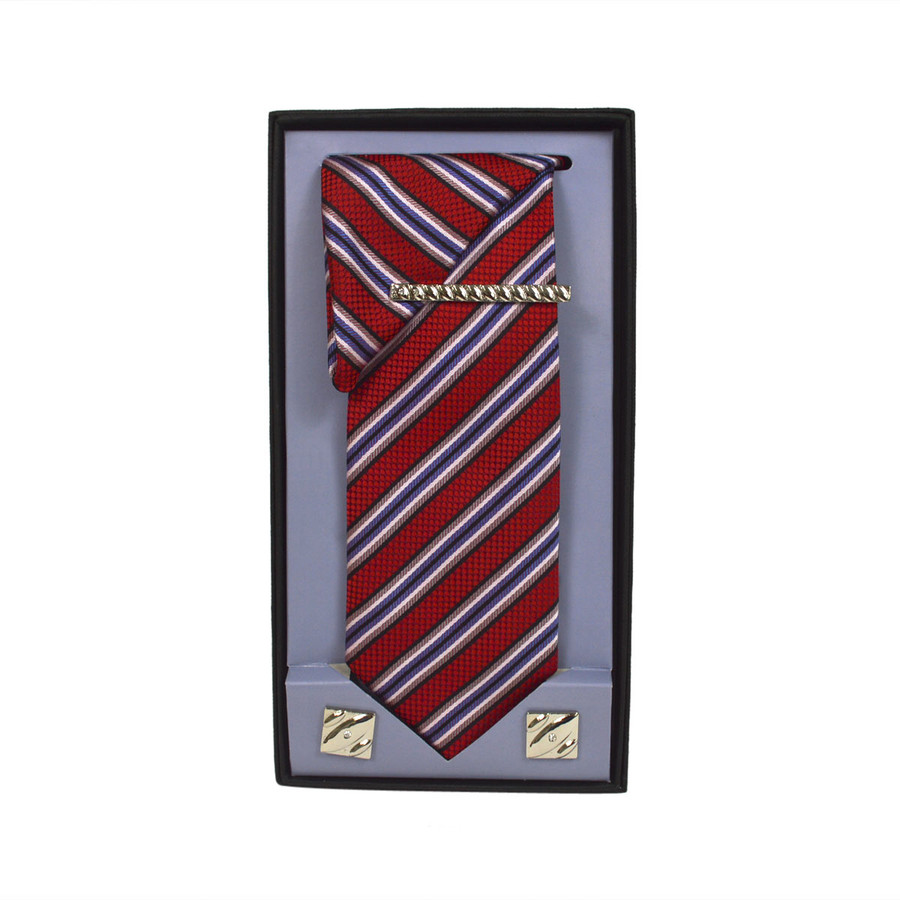 Red Micro Poly Woven Tie, Matching Hanky, Cufflinks & Tie Bar Set PWTHRD10BX