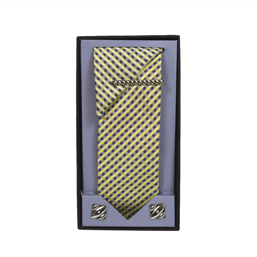 Yellow Micro Poly Woven Tie, Matching Hanky, Cufflinks & Tie Bar Set PWTHYW12BX