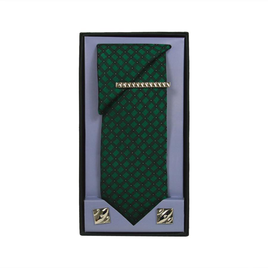 Green Micro Poly Woven Tie, Matching Hanky, Cufflinks & Tie Bar Set PWTHGN4BX
