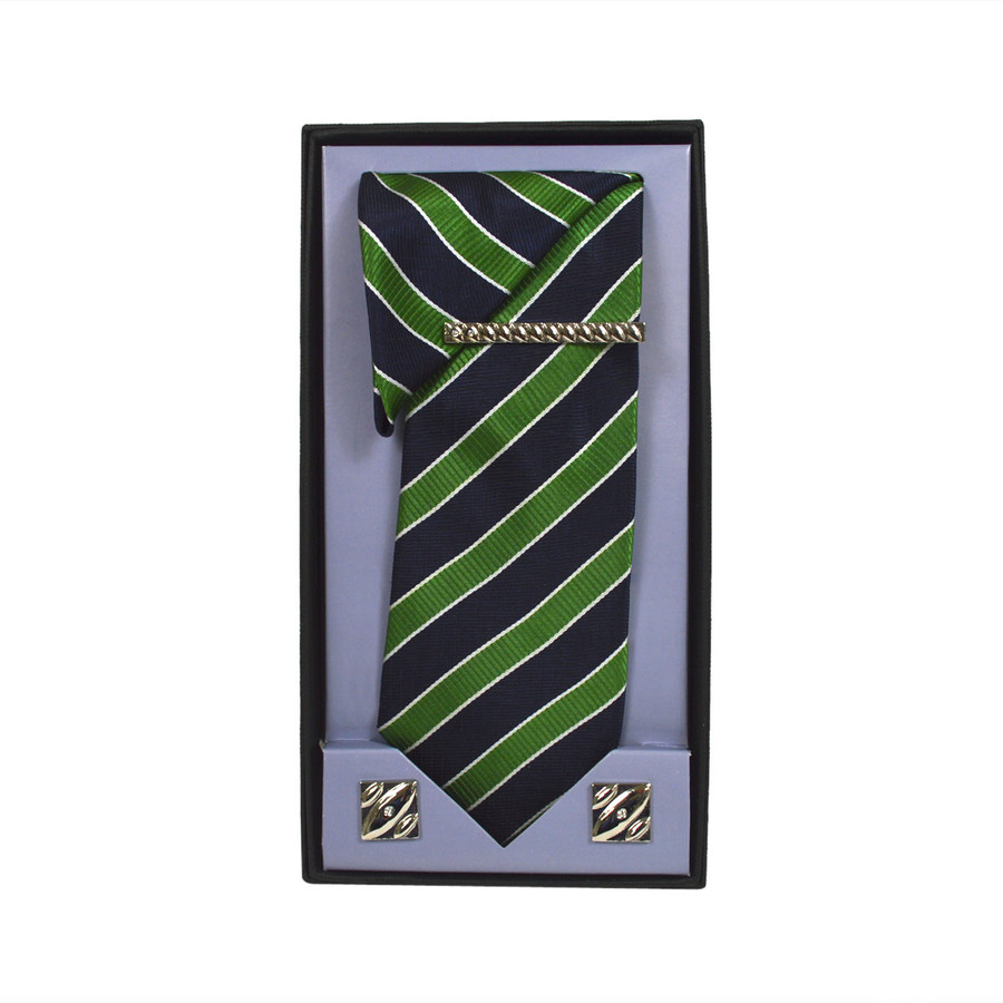 Green Micro Poly Woven Tie, Matching Hanky, Cufflinks & Tie Bar Set PWTHGN9BX