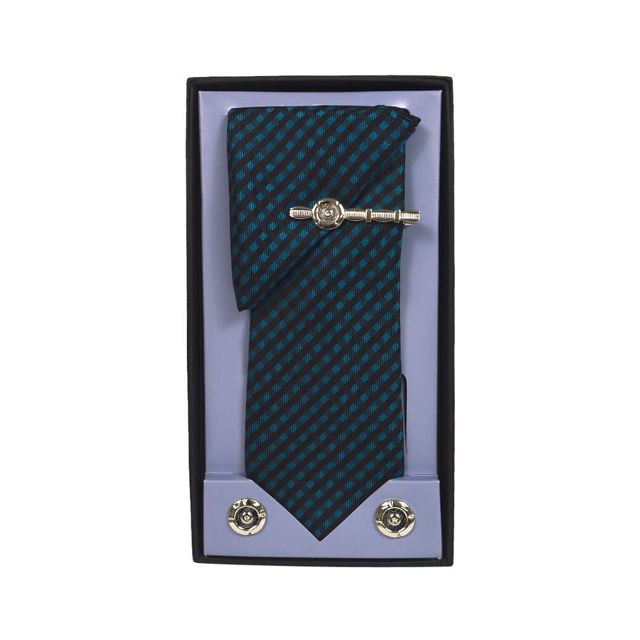 Green Micro Poly Woven Tie, Matching Hanky, Cufflinks & Tie Bar Set PWTHGN10BX