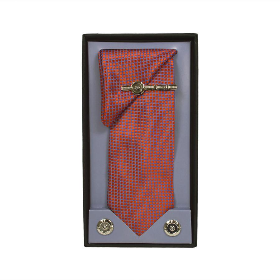 Orange Micro Poly Woven Tie, Matching Hanky, Cufflinks & Tie Bar Set PWTHOR1BX