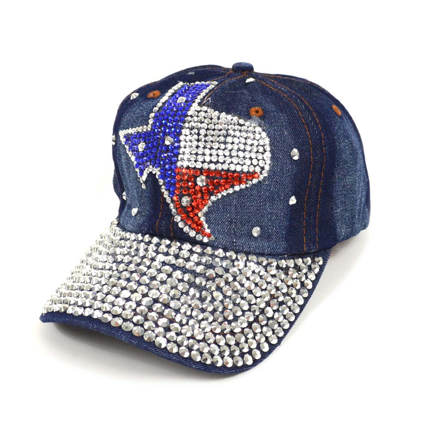 "Bling Studs ""Texas State"" Denim Cap"