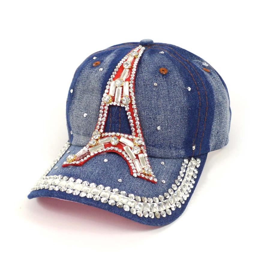 "Bling Studs ""Eiffel Tower"" Denim Cap"