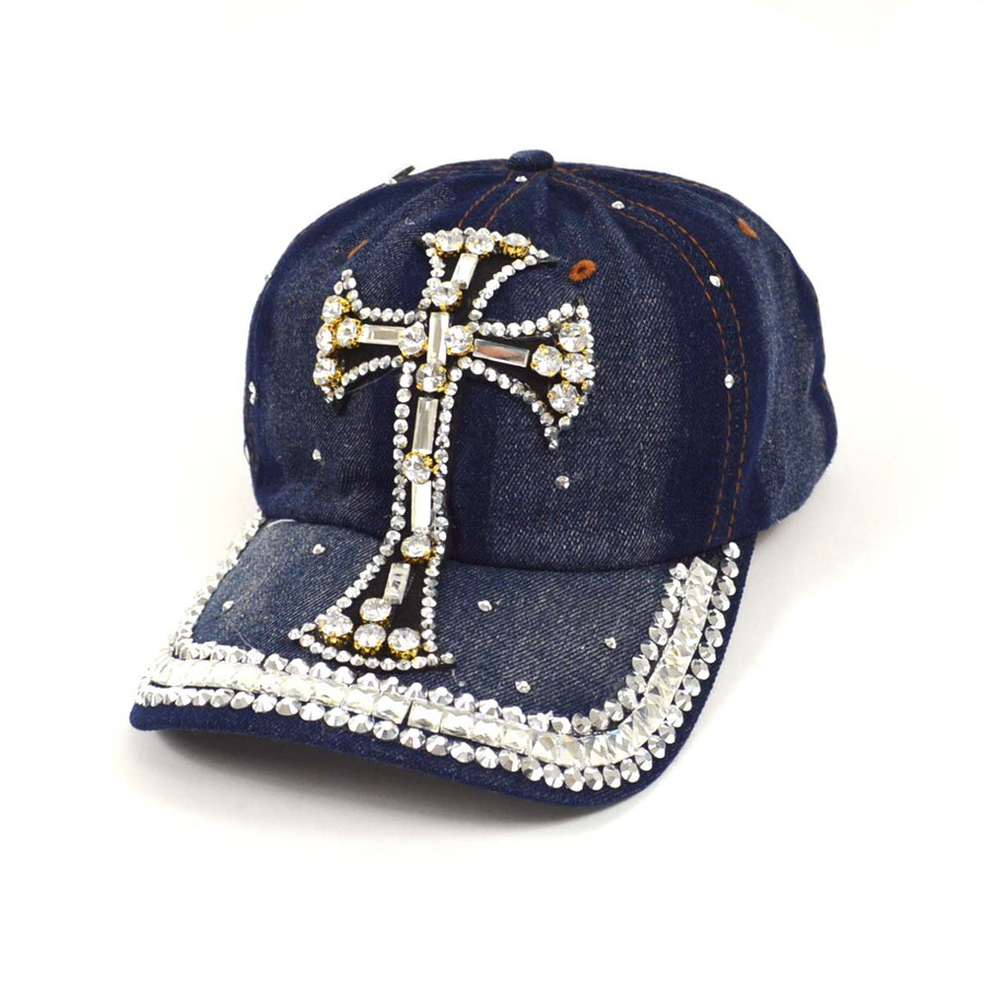 "Bling Studs ""White Cross"" Denim Cap"