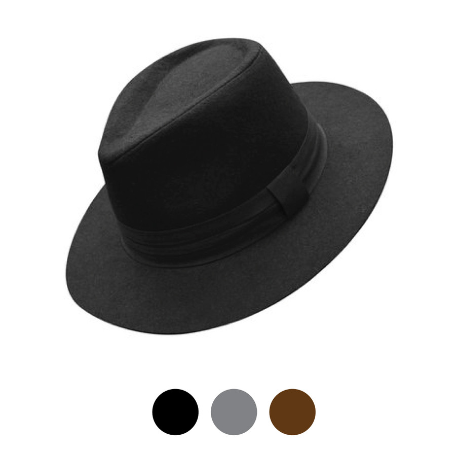 Fall/Winter Solid Color Felt Fedora Hat - LWH10059