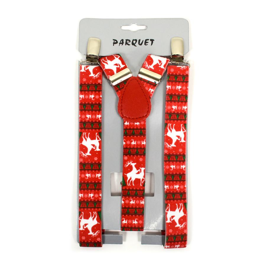 Boy's Y-Back Christmas Reindeer Adjustable Elastic Clip-on Suspenders BSCS1071-8