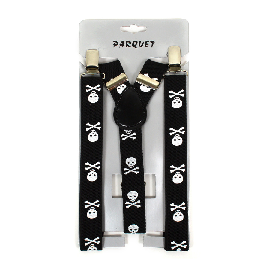 Boy's Y-Back Skull and Crossbones Adjustable Elastic Clip-on Suspenders BSCS1071-9
