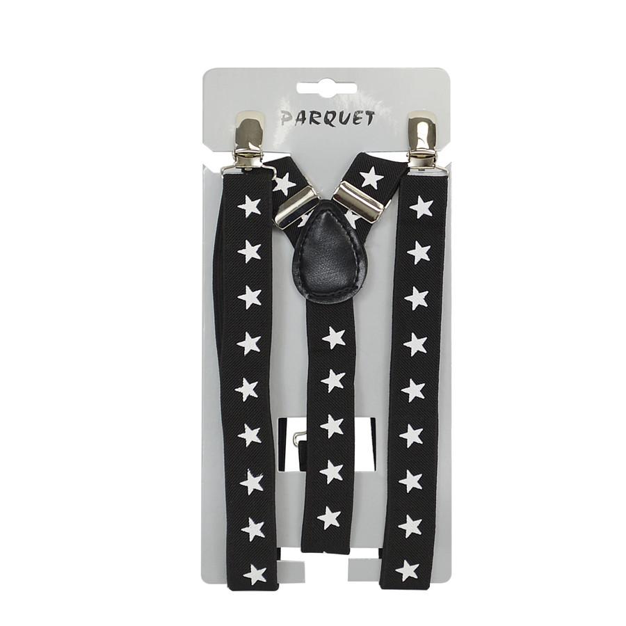 6pc Men's Y-Back Stars Adjustable Elastic Black Clip-on Suspenders
