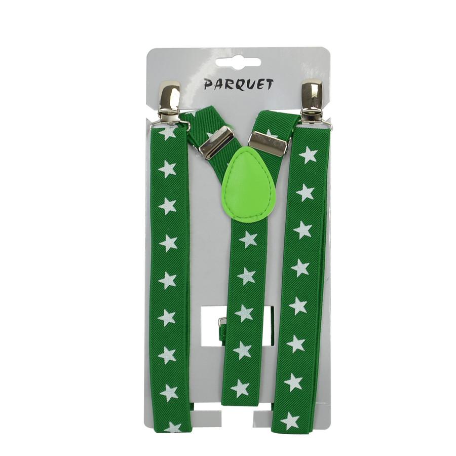 6pc Men's Y-Back Stars Adjustable Elastic Green Clip-on Suspenders