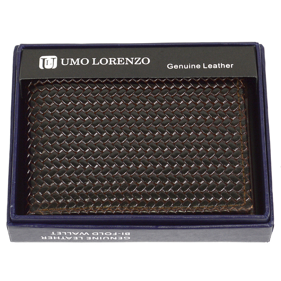 Bi-Fold Genuine Leather Brown Woven Wallet CLG786BR
