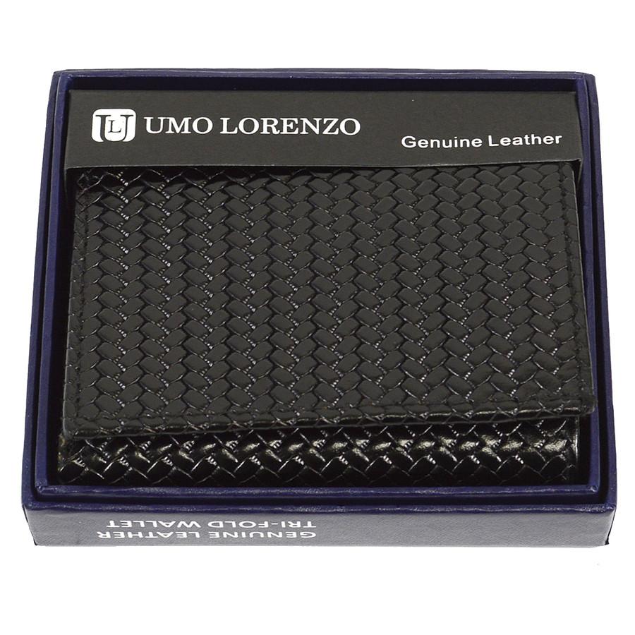 Tri-Fold Genuine Leather Black Woven Wallet CLG96BK
