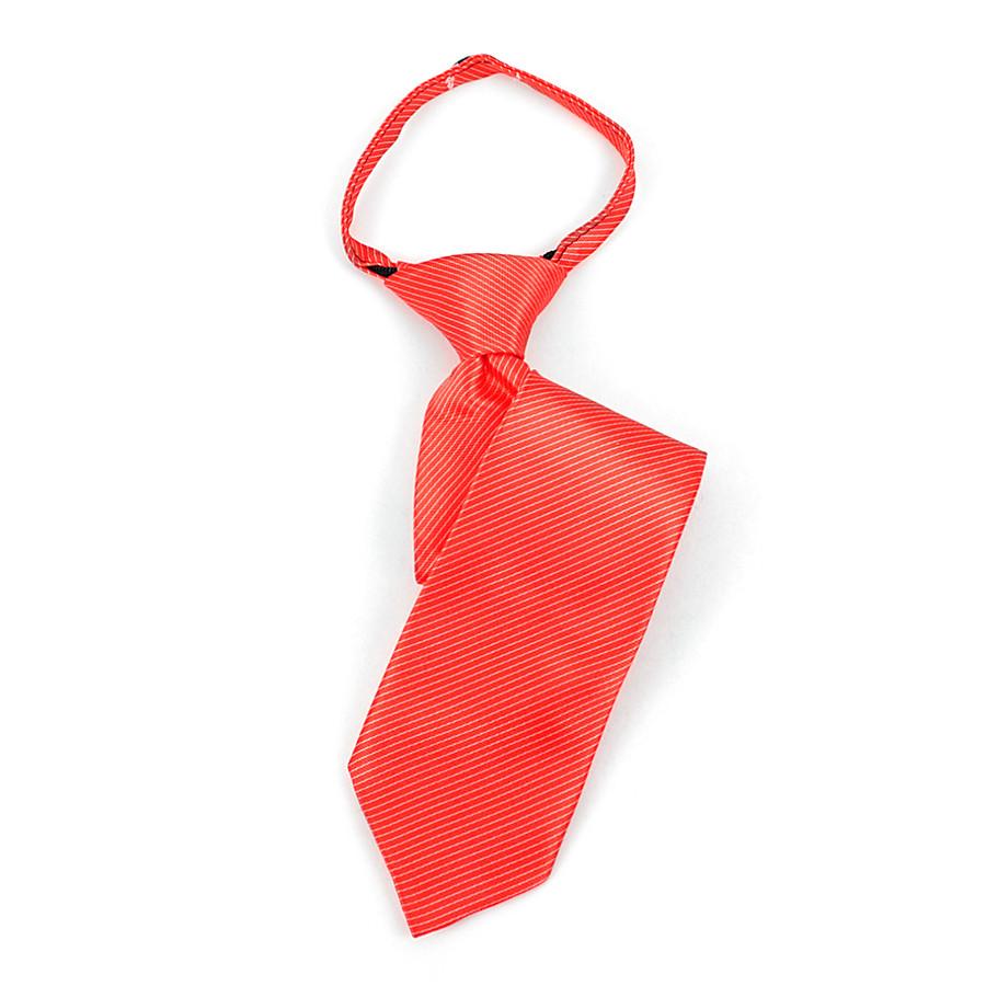 Boy's Red & White Striped Zipper Tie