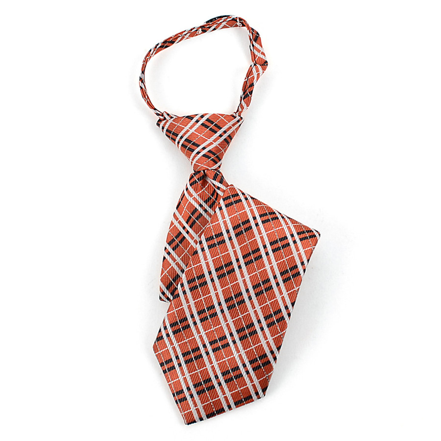 Boy's  Orange & Black/White Plaid Zipper Tie