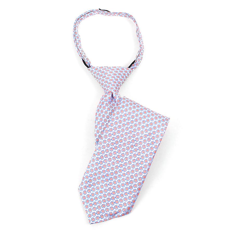 Boy's  Blue & Red Geometric/Polka Dot Zipper Tie