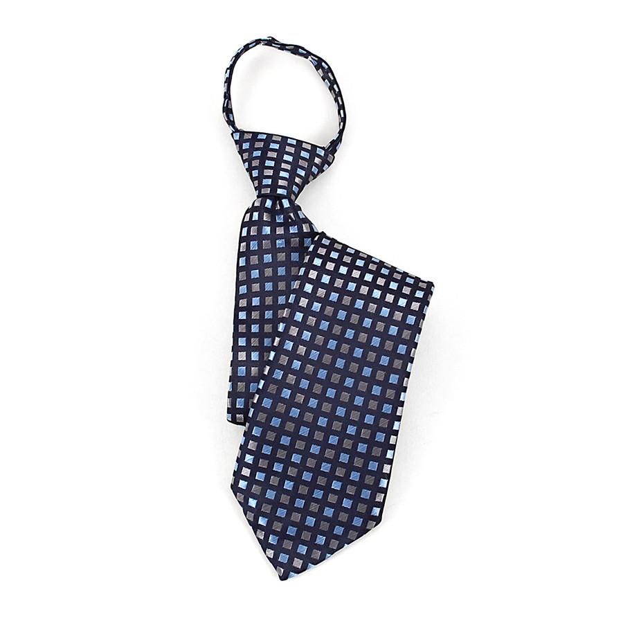 Boy's Blue & Silver Plaid Zipper Tie
