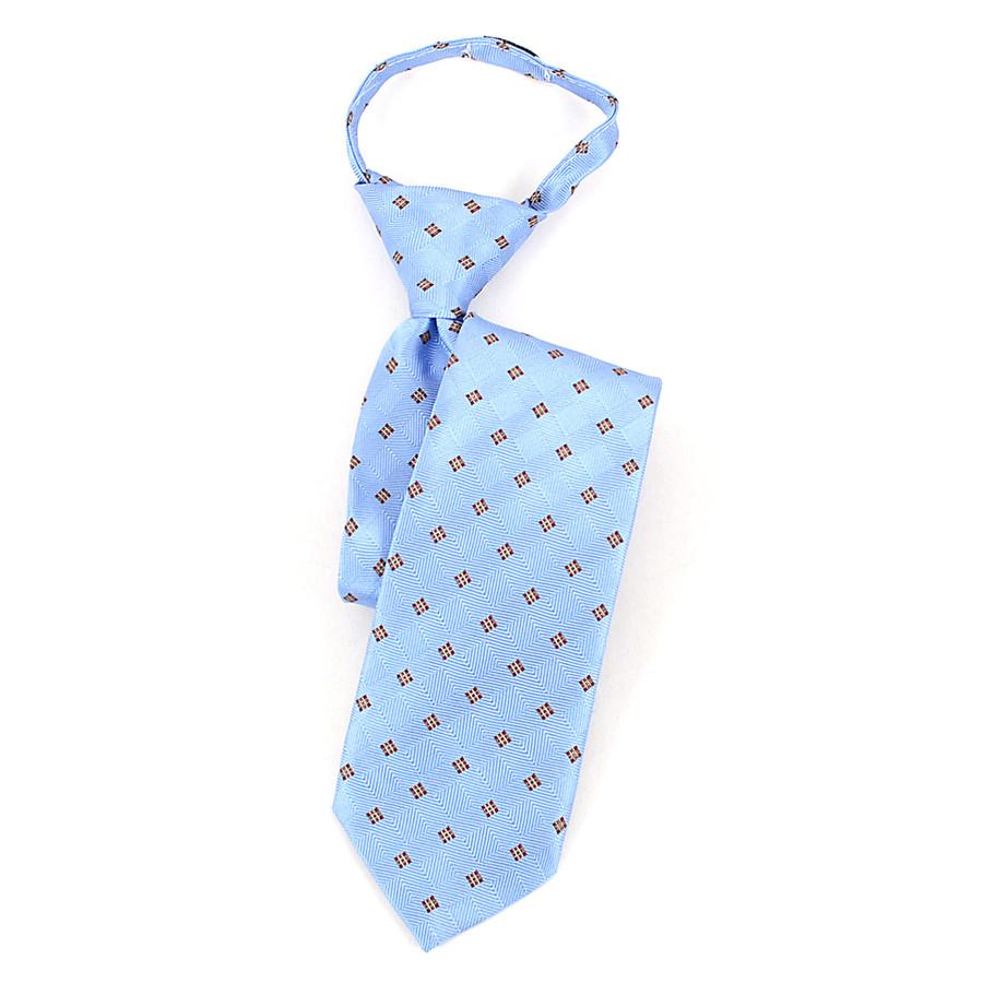 Boy's Blue & Brown Geometric/Polka Dot Zipper Tie