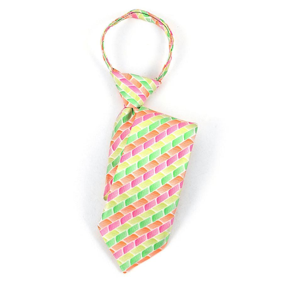 Boy's Green, Orange & Pink Geometric/Polka Dot Zipper Tie